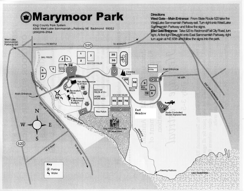 Map of Marymoor Park w/facilities and driving instructions